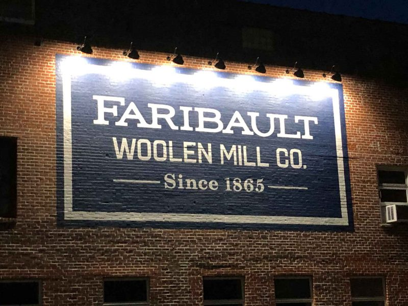 Faribault Woolen Mill sign lighting